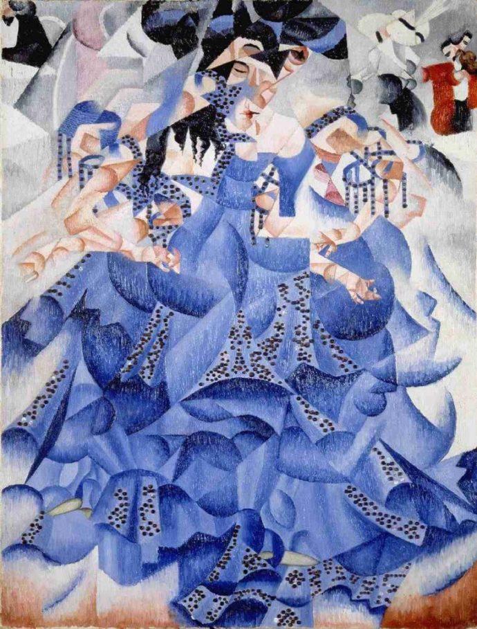 La danseuse bleue, Severini, 1912, huile sur toile, 61 x 46cm, Milan. Collection Gianni Mattioli
